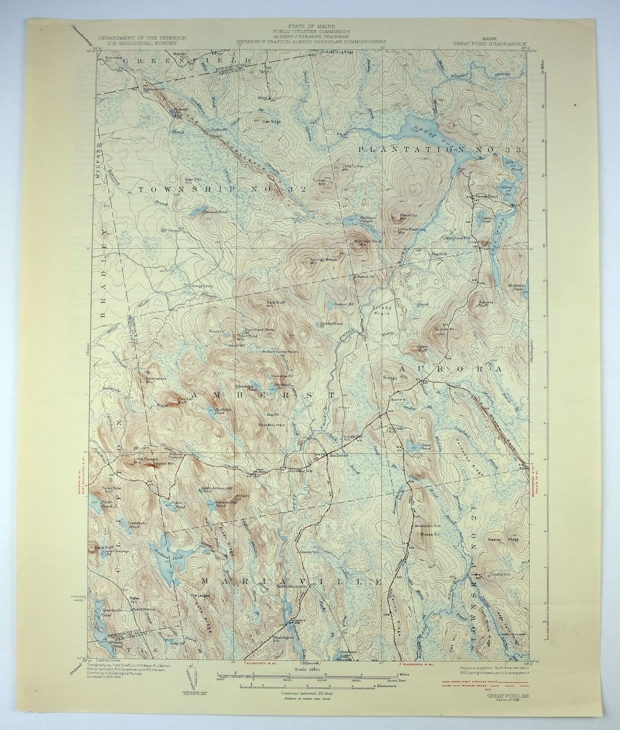 Topographic Map Usgs.1932 Great Pond Maine Bangor Old Town Vintage Original Usgs Topo