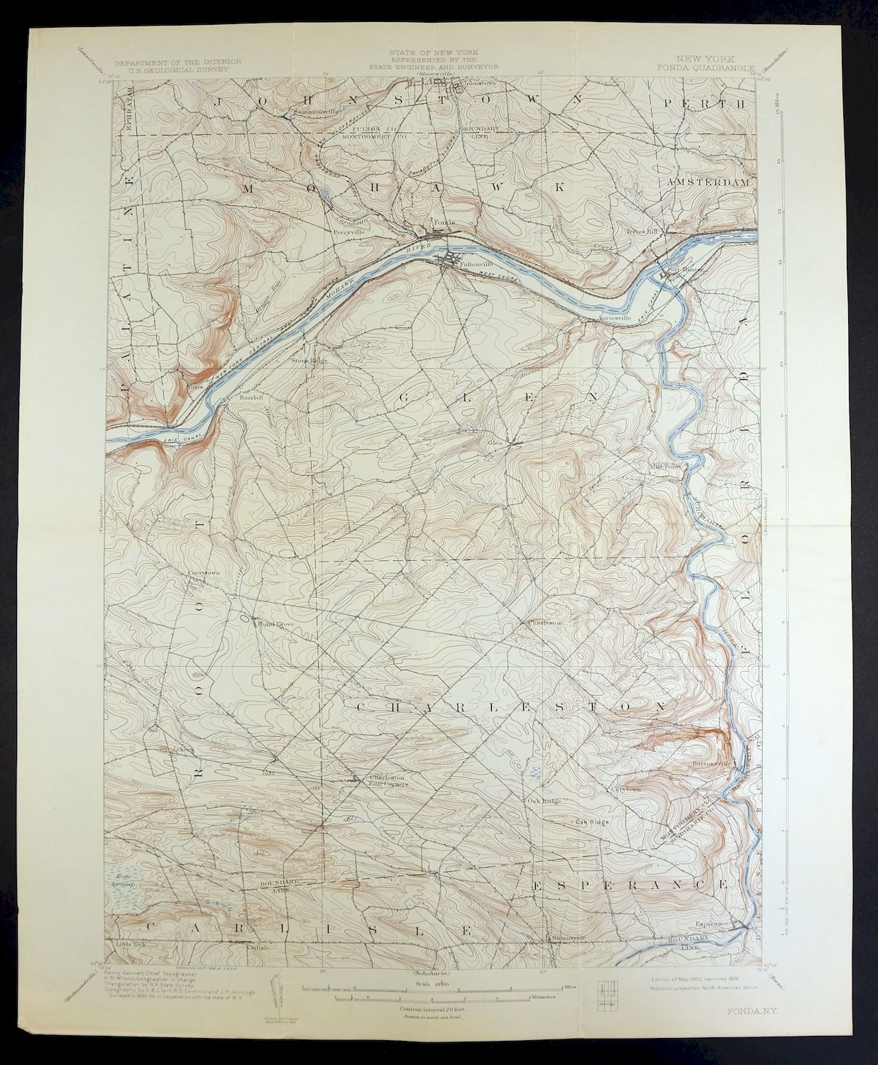 Topographic Map Usgs.1902 Fonda New York Johnstown Vintage 15 Minute Usgs Topographic
