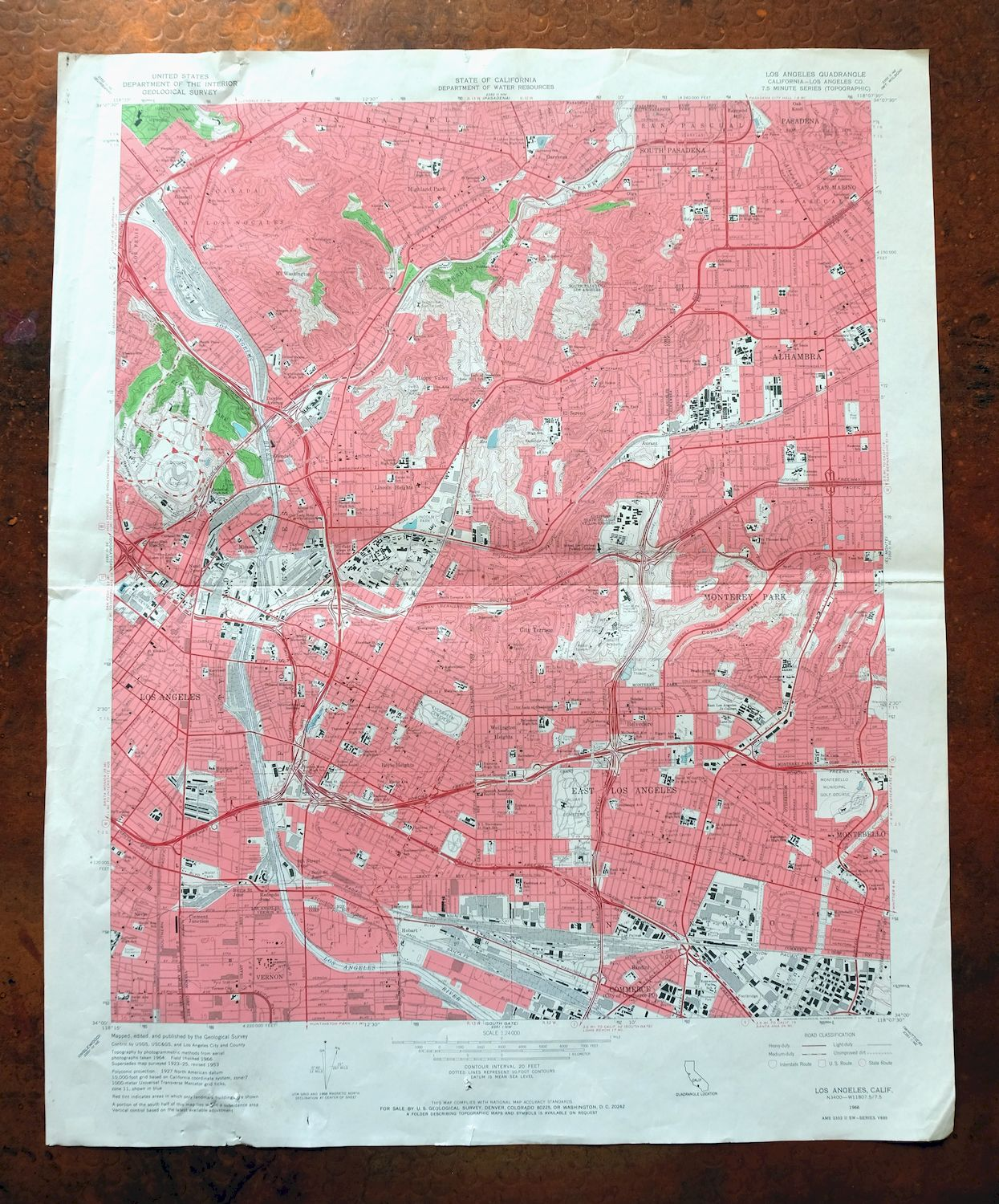 Details about Los Angeles California Vintage USGS Topo Map 1966 Glendale on