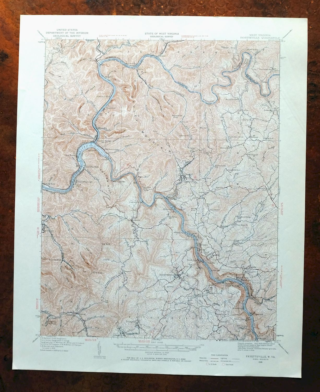 Picture of: Fayetteville West Virginia Vintage Usgs Topo Map 1928 Oak Hill Topographic Ebay