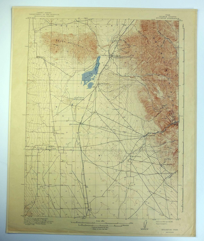 Stockton Utah Vintage Original USGS Topo mapa 1918 Rush Valle ...