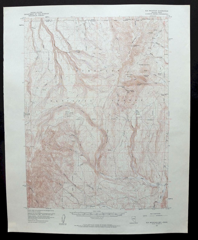 Details about 1957 Elk Mountain Nevada Idaho Jarbidge Wilderness Vintage  USGS Topo Map