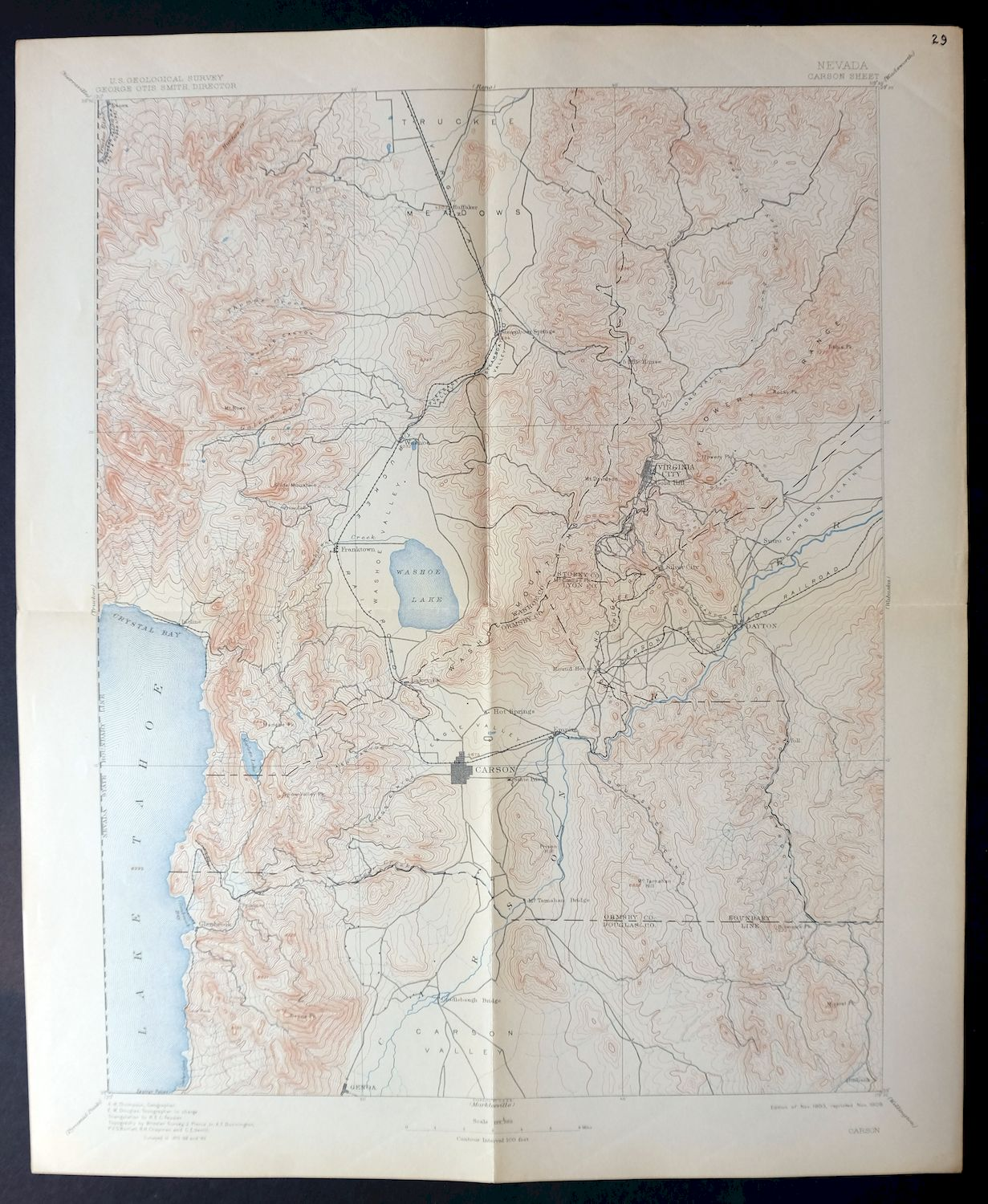 Details about 1893 Carson Nevada Reno Rare Antique 30-minute USGS  on