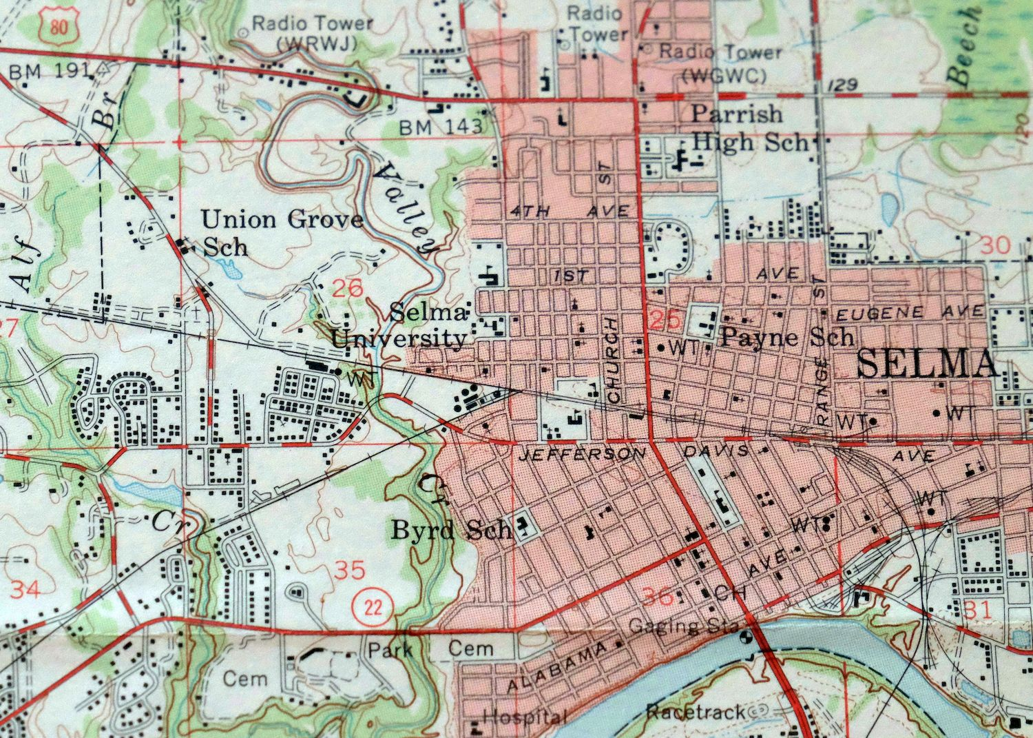 Details about 1958 Selma Alabama Orrville Selmont 15-minute USGS  Topographic Topo Map
