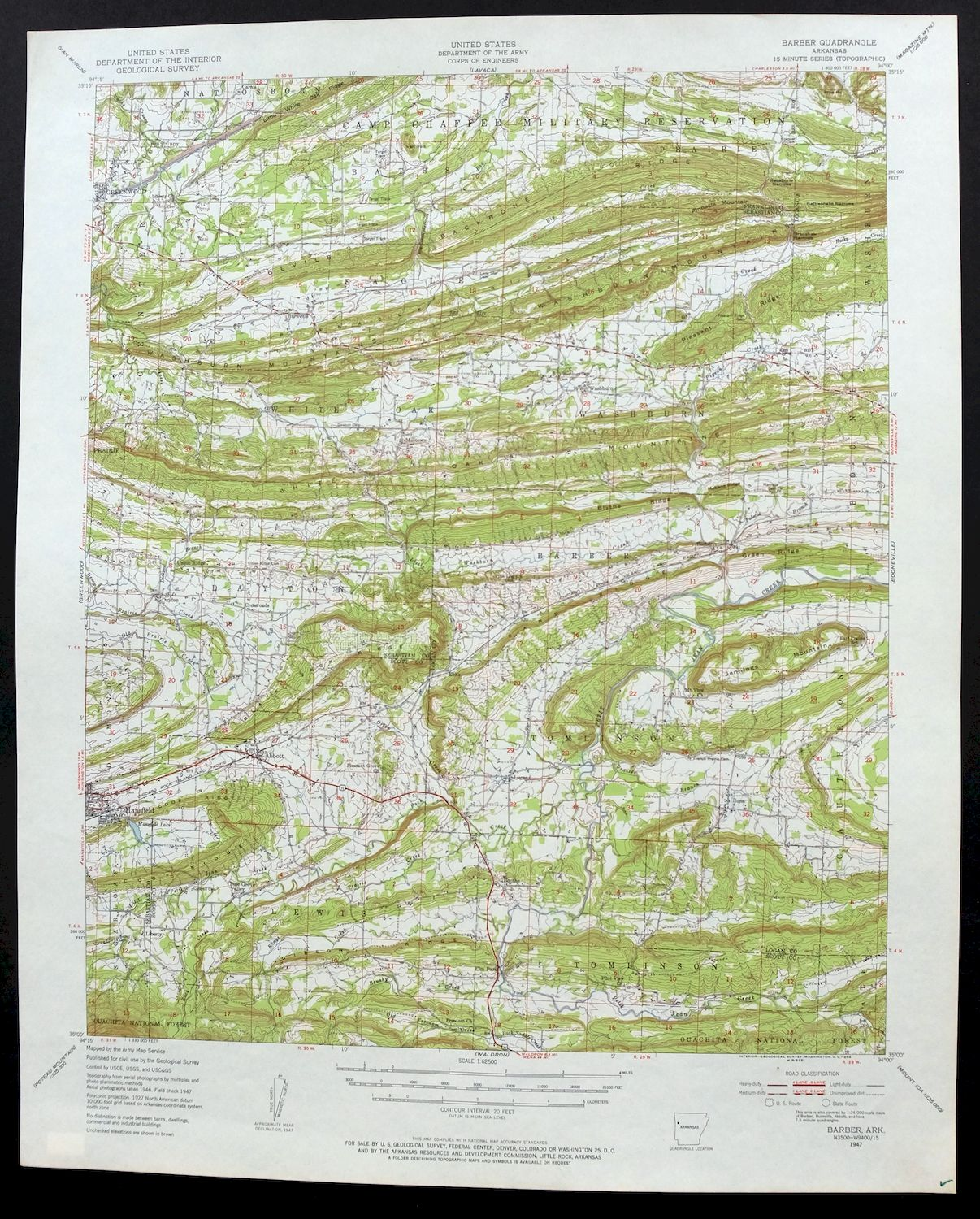 Details about 1947 Barber Arkansas Greenwood Vintage 15-minute USGS  Topographic Topo Map
