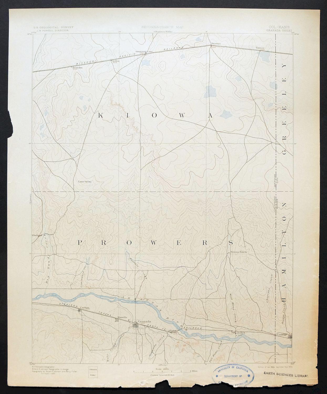 Sheridan Colorado Map.1894 Granada Colorado Kansas Sheridan Lago Raro Antiguo Mapa De Usgs