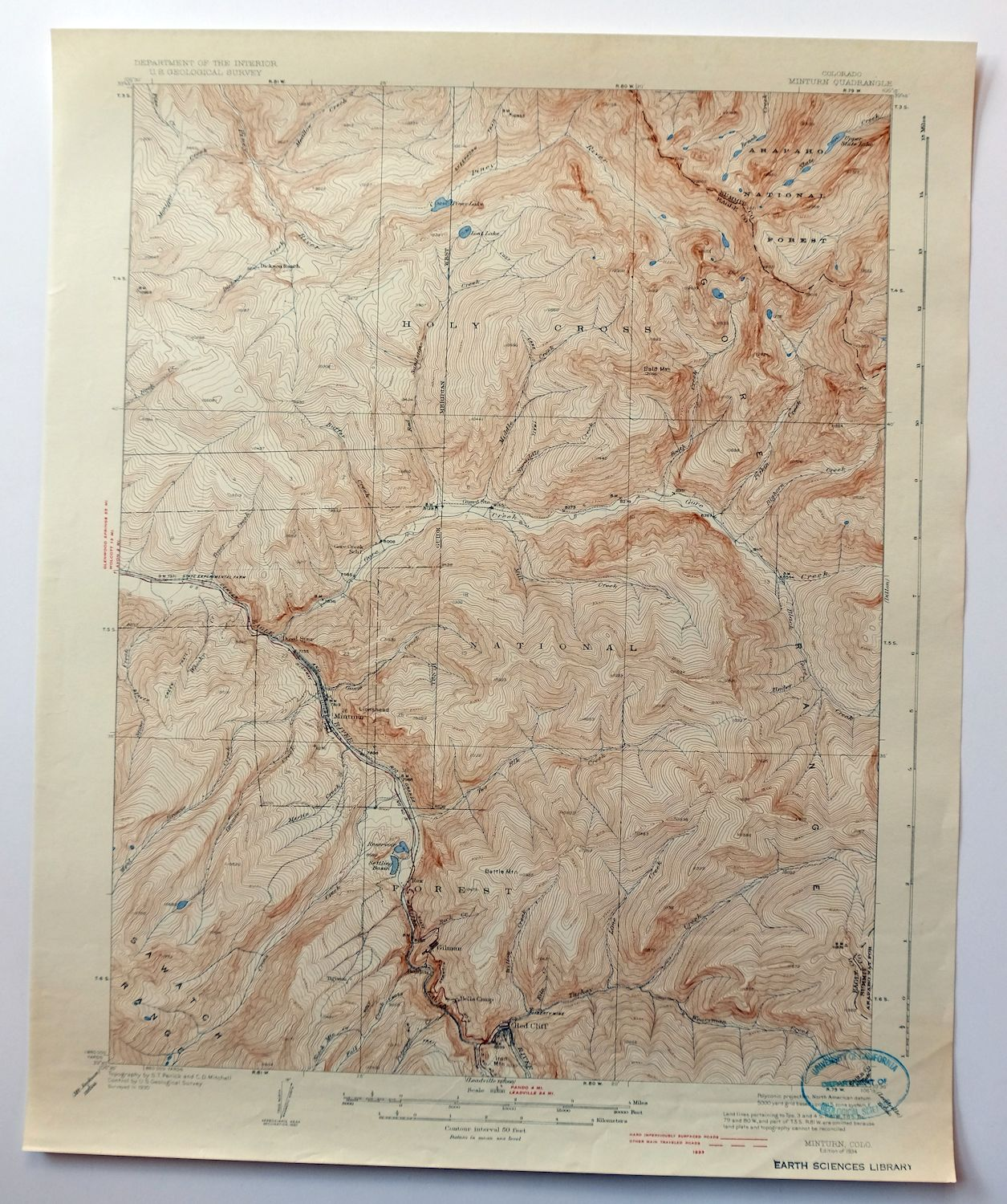Vail Colorado Map State.1934 Minturn Colorado Before Vail Ski And I 70 Vintage Usgs