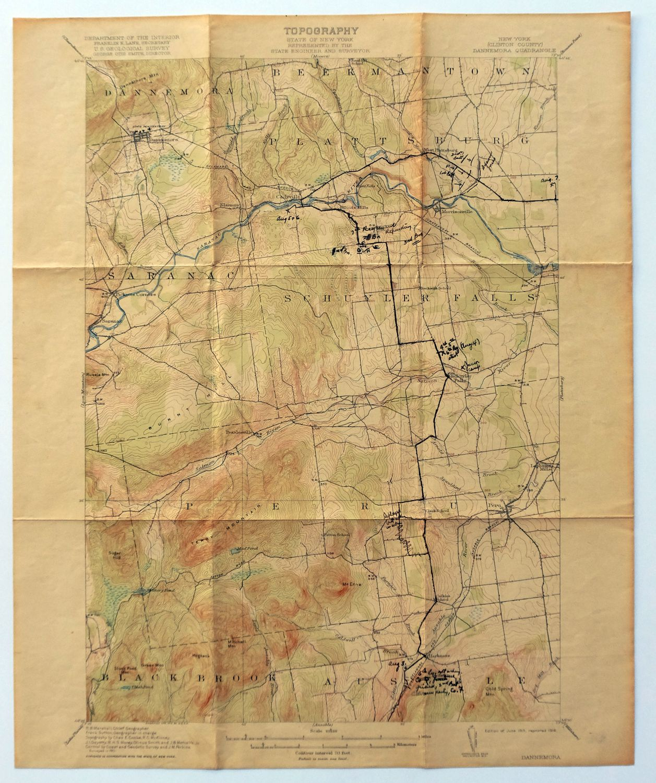 1913 Dannemora Nueva York Morrisonville Plattsburgh Peru Mapa