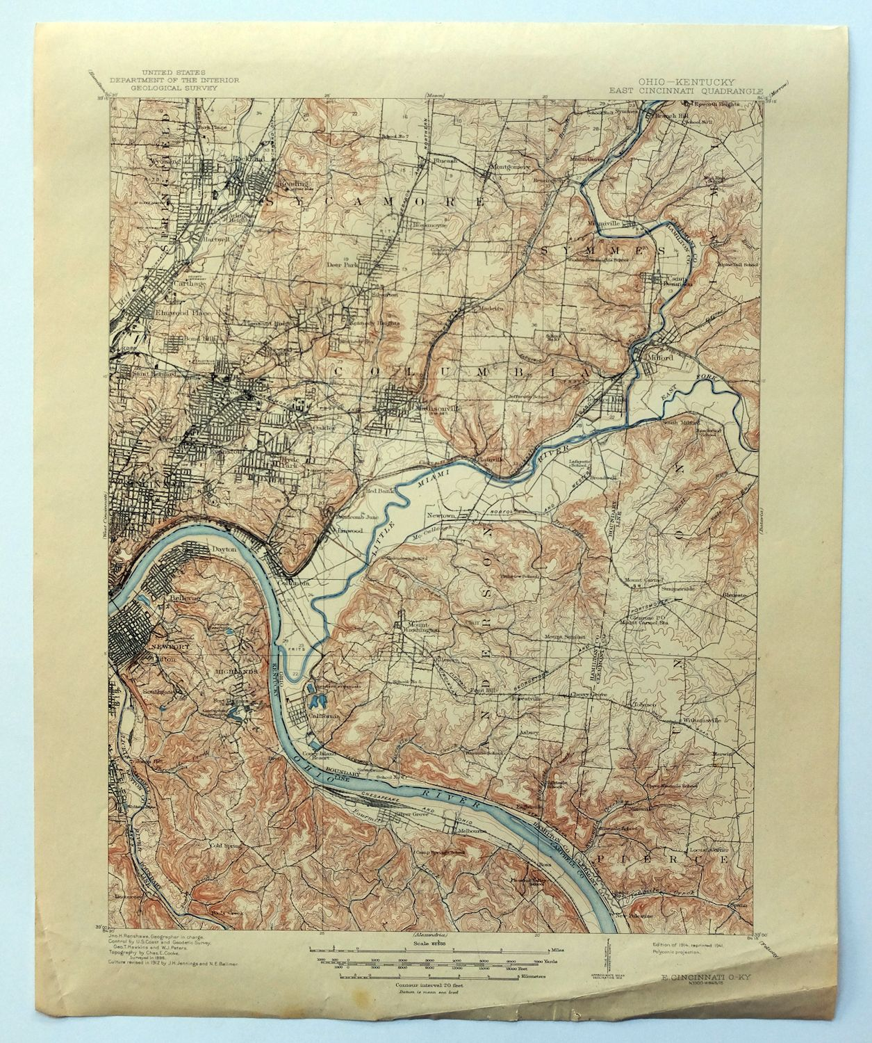1914 East Cincinnati Ohio Kentucky Norwood Finneytown Vintage Usgs
