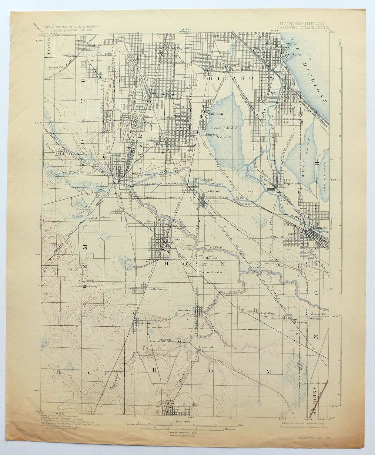 1901 Calumet Illinois Indiana Chicago Vintage Original Usgs