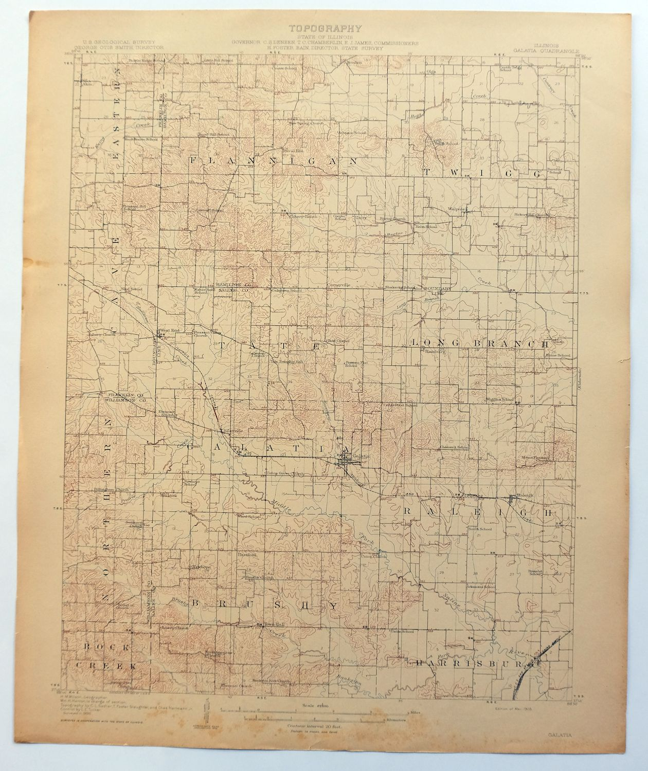 Harrisburg Illinois Map.1908 Galatia Illinois Harrisburg Rare Antique Original Usgs