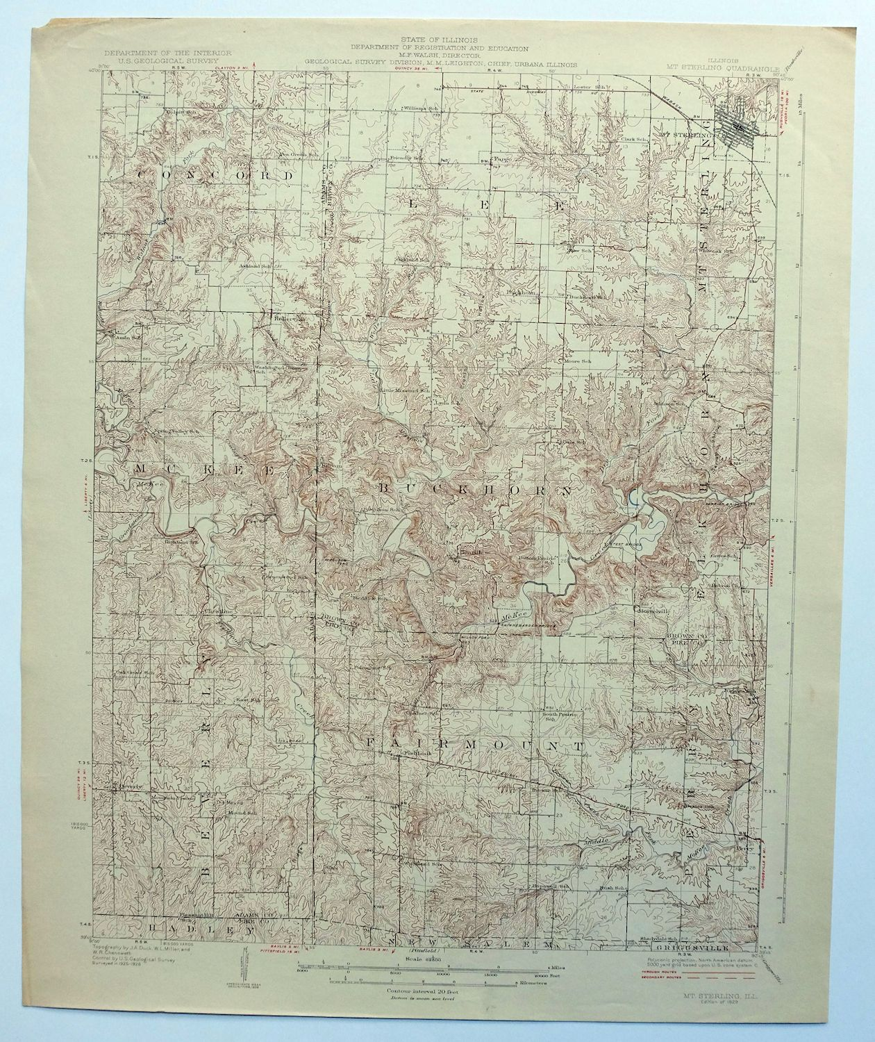 Mount Sterling Illinois Vintage 1929 Usgs Topo Map Perry 15 Minute